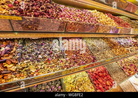 Various kinds of tea. Tea assortment flower fruit leaf in shop boxes - Stock Photo