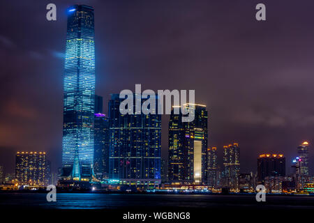 Symphony of Lights is a daily show in Hong Kong It is the world largest permanent light and sound show, Guinness World Records - Stock Photo