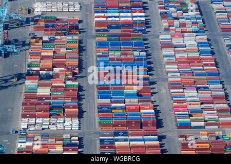 An aerial view of containers on the dockside at Seaforth Docks, Liverpool, Merseyside, North West England, UK - Stock Photo