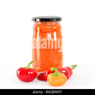 picture of a Traditional Macedonian food. Ajvar in jar . homemade product - Stock Photo
