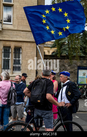 Stop the Coup - Demonstraters outside Balliol College with political banners and flags to demonstrate the suspension of parliament by Boris Johnson PM - Stock Photo