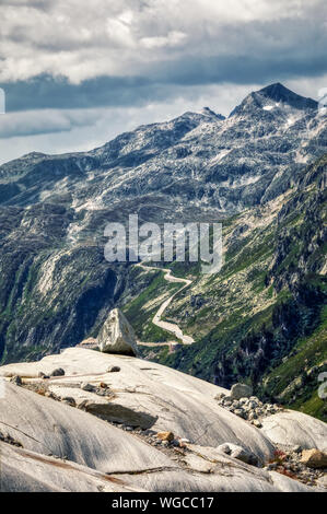 panorama of melting rhone glacier in swiss alps, switzerland - Stock Photo