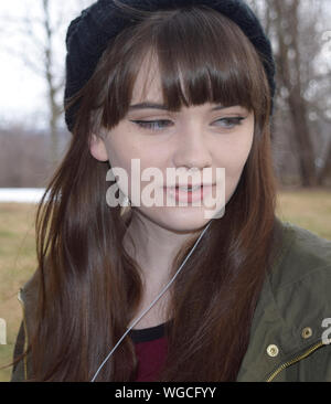 Close-up Of Teenager With Lip Piercing - Stock Photo