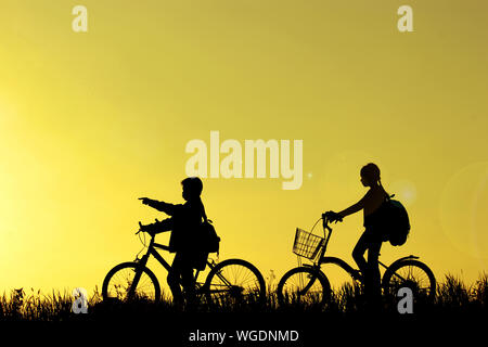 Silhouette Friends With Bicycles On Grassy Field Against Sky During Sunset - Stock Photo