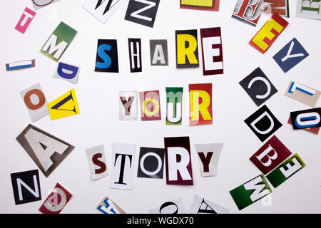 A word writing text showing concept of SHARE YOUR STORY made of different magazine newspaper letter for Business case on the white background with spa - Stock Photo