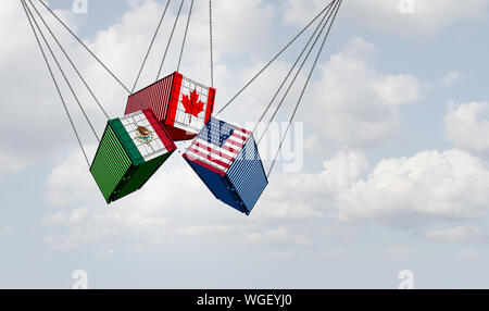 USMCA north america or the new NAFTA United States Mexico Canada agreement symbol with flags as a trade deal negotiation and economic deal. - Stock Photo