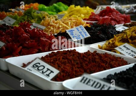 High Angle View Of Various Dried Fruits In Market - Stock Photo