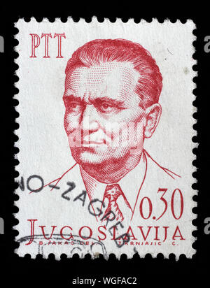 Stamp issued in Yugoslavia shows Josip Broz Tito(1892-1980), circa 1966. - Stock Photo