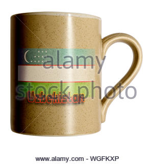 Flag of Uzbekistan on Personal cup, Blandford, Dorset, England, UK - Stock Photo