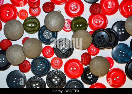 Full Frame Shot Of Various Buttons On Table - Stock Photo