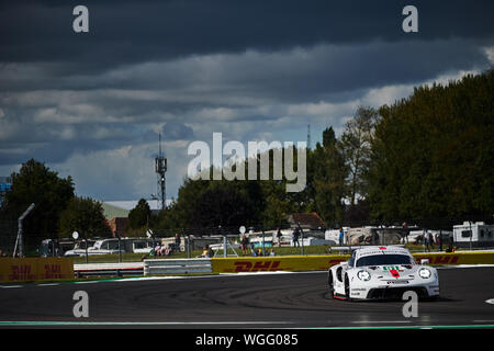 Towcester, Northamptonshire, UK. 1st September 2019. Porsche GT Team Porsche 911 RSR driven by Gianmaria Bruni (ITA) and Richard Lietz (AUT) during the 2019 FIA 4 Hours of Silverstone World Endurance Championship at Silverstone Circuit. Photo by Gergo Toth / Alamy Live News - Stock Photo