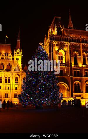 Christmas Tree Against Hungarian Parliament Building In City At Night - Stock Photo