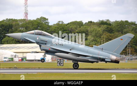 German Luftwaffe Eurofighter Typhoon at the Royal International Air Tattoo RIAT 2019 at RAF Fairford, Gloucestershire, UK - Stock Photo