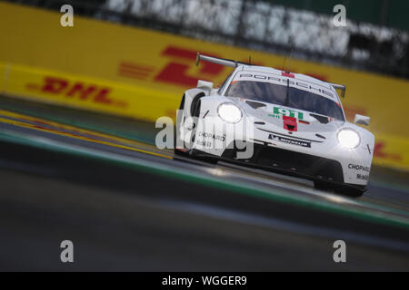 Silverstone, UK. 01st Sep, 2019. PORSCHE GT TEAM Porsche 911 RSR driven by Gianmaria Bruni & Richard Lietz during the FIA World Endurance Championship at the Silverstone Circuit, Silverstone, England on 1 September 2019. Photo by Jurek Biegus. Credit: UK Sports Pics Ltd/Alamy Live News - Stock Photo