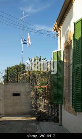 UN observation post at united nations buffer zone - green line in Nicosia. Cyprus - Stock Photo