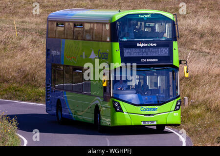 Eastbourne, UK. 1st September 2019: The 13X coaster bus service seen at Beachy Head. - Stock Photo