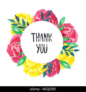 Greeting card with floral ornament and hand-written lettering Thank you. Cute, bright background with watercolor roses flowers. - Stock Photo