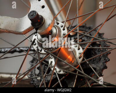 Close up shot of old style mountain bike rear cassette/hub/axle/quick release - Stock Photo