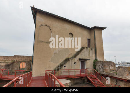 Francesco Medici Palace in Livorno Old Fortress or Fortezza Vecchia, Italy. - Stock Photo