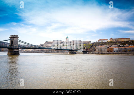 Chain Bridge Against Hungarian National Gallery - Stock Photo