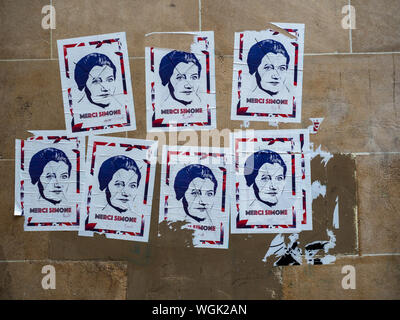 PARIS, FRANCE:  Merci Simone posters - a tribute to Simone Veil following her on June 30, 2017 - Stock Photo