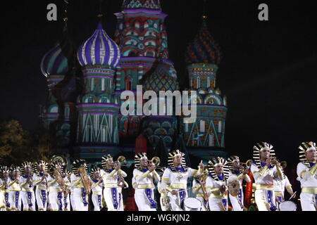 Moscow, Russia. 01st Sep, 2019. MOSCOW, RUSSIA - SEPTEMBER 1, 2019: Members of the Egyptian Military Symphonic Band perform during the closing ceremony of the 12th Spasskaya Tower International Military Music Festival in Red Square. Artyom Geodakyan/TASS Credit: ITAR-TASS News Agency/Alamy Live News - Stock Photo