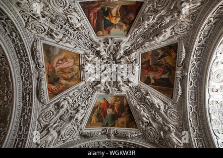 Directly Above Shot Of Paintings On Salzburg Cathedral Ceiling - Stock Photo