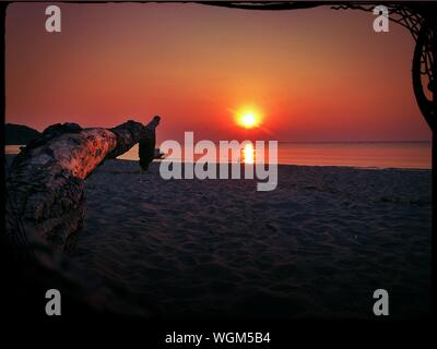 Scenic View Of Sea During Sunset - Stock Photo