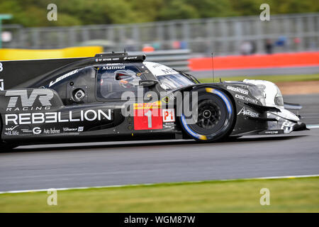 TOWCESTER, UNITED KINGDOM. 01st Sep, 2019. REBELLION RACING (CHE) - Rebellion R13 - Gibson: Bruno Senna (BRA) / Gustavo Menezes (USA) / Norman Nato (FRA) during SundayÕs Race of the FIA World Endurance Championship with 4 hours Silverstone at Silverstone Circuit on Sunday, September 01, 2019 in TOWCESTER, ENGLAND. Credit: Taka G Wu/Alamy Live News - Stock Photo
