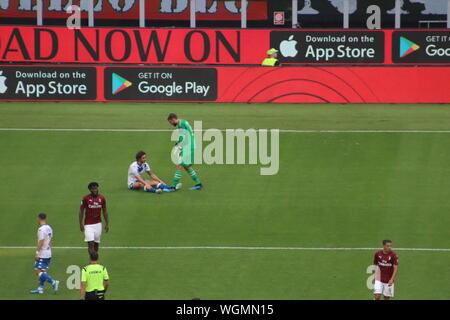 Milan - August, 31: Italian 'Serie A' Championship, Milan plays at 'Meazza' stadium against 'Brescia' - Stock Photo