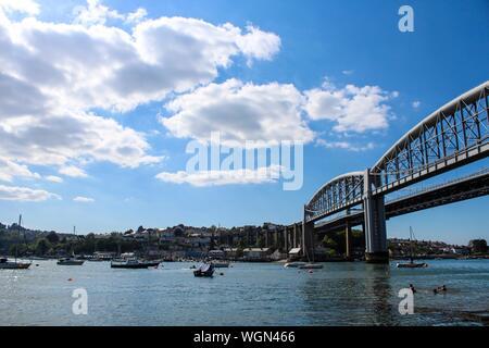 Royal Albert Bridge Over Tamar River Against Sky - Stock Photo