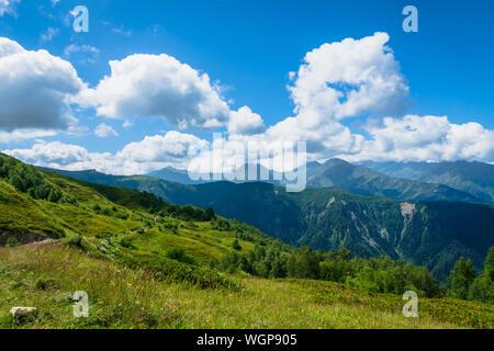 Svaneti landscape with mountains on the trekking and hiking route near Mestia village in Svaneti region, Georgia.