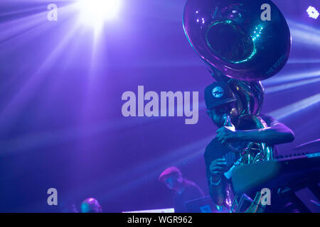 August 30, 2019: Damon ''Tuba Gooding Jr.'' Bryson (L) of The Roots performs. (Credit Image: © Rishi DekaZUMA Wire) - Stock Photo