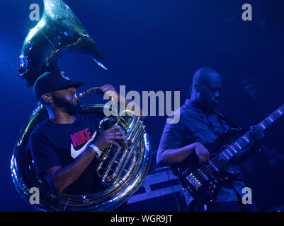 August 30, 2019: Damon ''Tuba Gooding Jr.'' Bryson (L) and Mark Kelley (R) of The Roots perform. (Credit Image: © Rishi DekaZUMA Wire) - Stock Photo