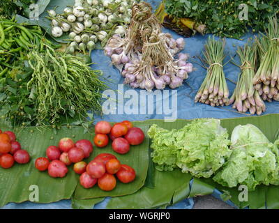 High Angle View Of Various Vegetables For Sale At Market - Stock Photo