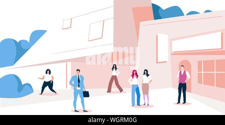 businesspeople group walking outdoors near modern business center men women in formal wear standing in area city office building exterior sketch full - Stock Photo