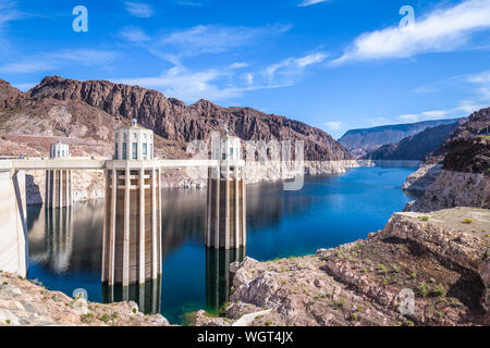 Hoover Dam, Arizona, USA on Lake Mead. - Stock Photo
