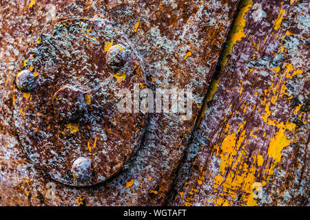 Close Of Rusty Bolt On Weathered Wood - Stock Photo