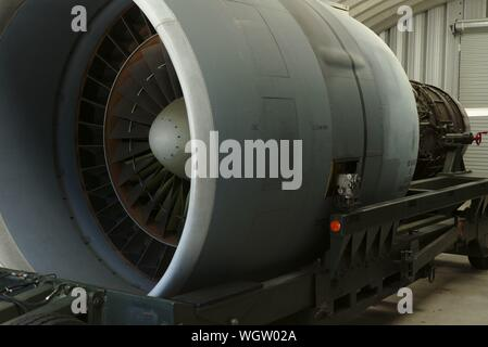 Jet engine.  Airlift Command Museum, Dover AFB, Dover, Delaware - Stock Photo