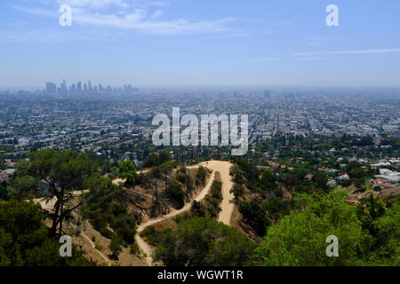 A View of Los Angeles from the Griffith Observatory - Stock Photo