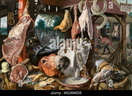 A Meat Stall with the Holy Family Giving Alms - Inverted Still Life - Holy Family distributing alms on their journey to Egypt to escape from Herod's harassment. Various foods – plates in the foreground, meats, ham, lard, smoked fish, pigs' legs and head, bread, butter, milk, cheese and hanging pretzels (in the left corner) – that has been spread out in front of the viewer. The various meats, including sausages, beef, fish, fowl and pork, are arranged on wooden tables, using baskets, pots and plates. A barrel and some wickerwork chairs serve as containers for the food items - Pieter Aertsen, ci - Stock Photo