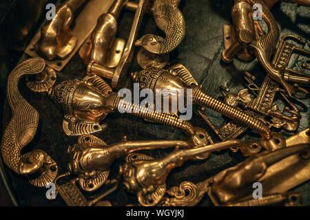 Close-up Of Metallic Figurines