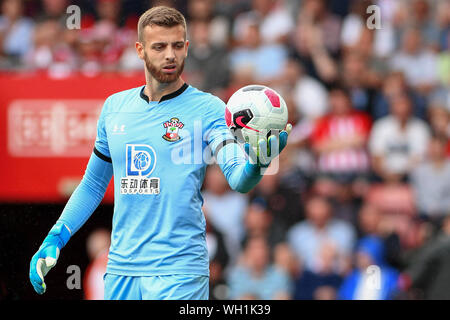 Angus Gunn of Southampton - Southampton v Manchester United, Premier League, St Mary's Stadium, Southampton, UK - 31st August 2019  Editorial Use Only - DataCo restrictions apply - Stock Photo