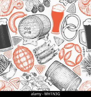 Octoberfest seamless pattern. Vector hand drawn illustrations. Greeting Beer festival design in vintage style. Autumn background. - Stock Photo