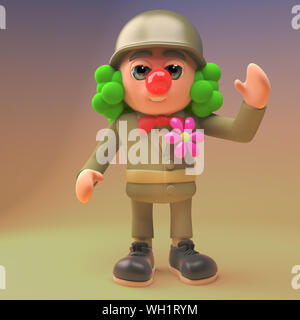 3d cartoon army soldier in military uniform wearing a clown wig and red nose, 3d illustration render - Stock Photo