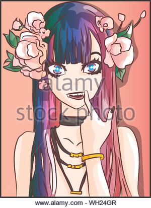 Fashion anime demon, evil girl with vampire teeth and pink roses on her hair illustrator. Fantasy cartoon character with leaves and gold accessories - Stock Photo