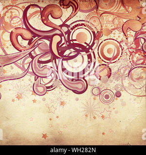 Illustration of abstract grunge swirls ornament with floral and stars on paper background. - Stock Photo