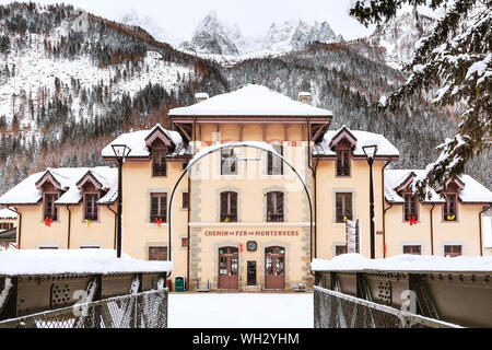 Chamonix Mont Blanc, France - January 30, 2015: The building of Montenvers railway station in winter - Stock Photo