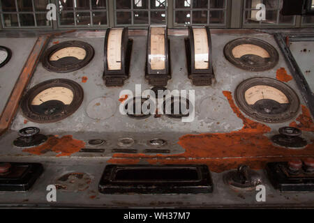 High Angle View Of Old Control Panel In Factory - Stock Photo