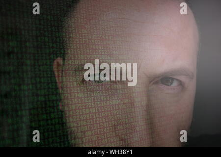 Double Exposure Of Computer Language And Young Man - Stock Photo